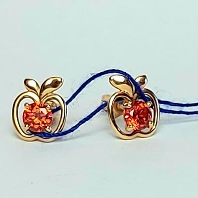 Золотые серьги гвоздики Яблоко