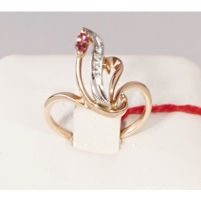 Кольцо бриллиант/турмалин