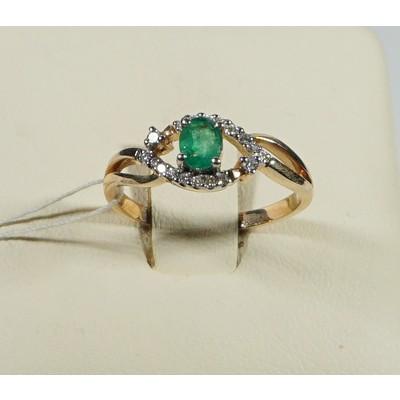 кольцо бриллиант/изумруд