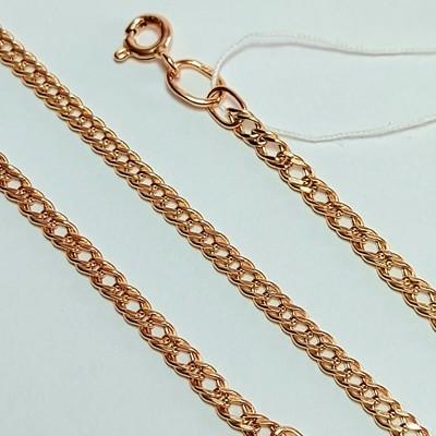 Золотая цепь, Двойной ромб с лазерной огранкой - 3,28  гр.
