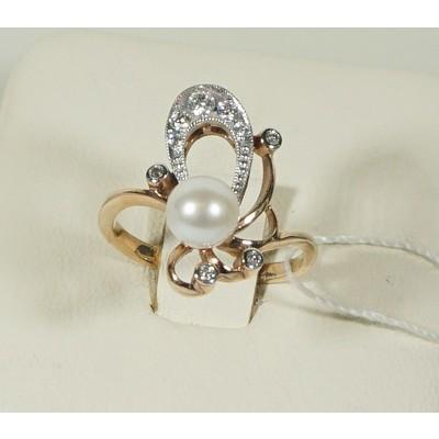 Кольцо бриллиант/жемчуг
