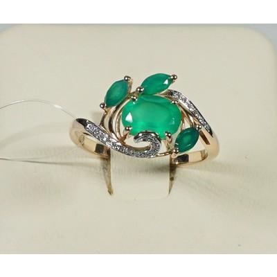 кольцо бриллиант/хризопраз