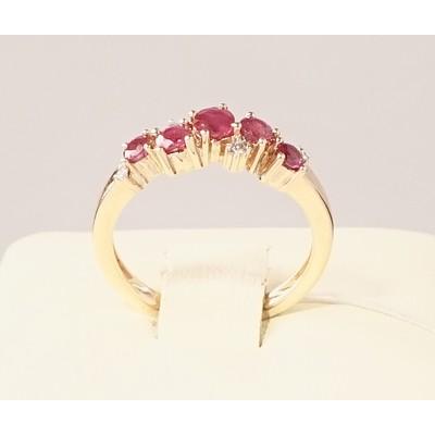 Кольцо бриллиант/рубин